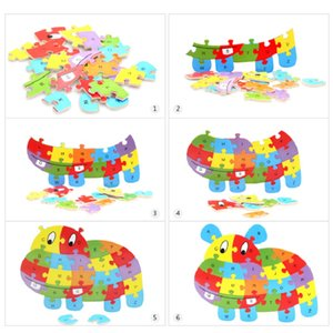 Colorful Wooden Puzzle Animals Elephant Lion Jigsaw ABC English Letters Puzzles Alphabet Learning Toy For Children Kids Gift646