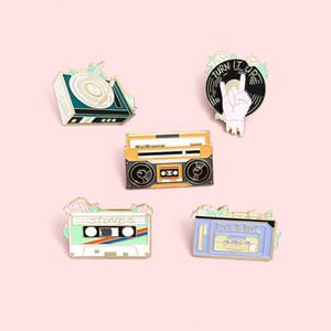 idade Rádio Record esmalte lapela Pins Música rock fita Broches Badges Moda bonito pins presentes para amigos Jóias