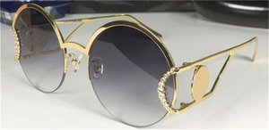 New fashion design sunglasses 2094S metal round half frame frame with diamond pile head popular and generous style top protective glasses