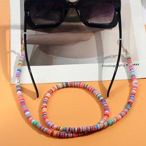 2020 Chic Moda Donna occhiali da lettura catena Multicolor Occhiali da sole in silicone catena casual perle imitazione in rilievo degli occhiali
