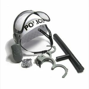 Policeman Role Pretend Play Boys Toy Camouflage Hat Walkie Talkie Police Baton Emblem Handcuffs Set for Children Kids 201102