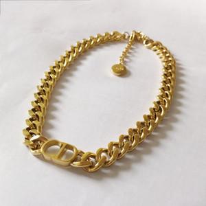 Nuovi gioielli di progettazione di lusso collane delle donne della catena di spessore dell'oro con la collana del braccialetto del braccialetto dell'acciaio inossidabile del pendente D imposta la catena di modo