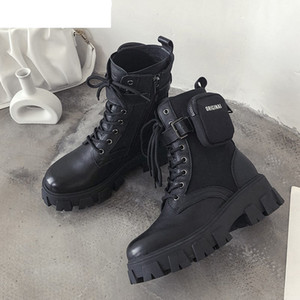High Quality Monolith Platform Shoes Women Black Ankle Boots Pocket Design Zipper Warm Boots Lace Up Thick Bottom Short Boots