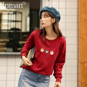 INMAN Autumn 2020 New Arrival Simple Design Round Collar Three Flower Embroidered Hoodies