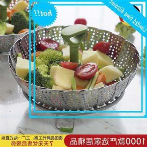 11 بوصة تلسكوبية باخرة الفولاذ المقاوم للصدأ البيض رف الفاكهة تبخير سلة مقبض مطبخ مساعد