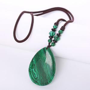 Şifa Kristal Doğal Malakit Kolyeler Yeşil Kolye Taş Zincir Vintage Kadınlar Takı Geometrik Halat Zincir Talisman Reiki LJ201016