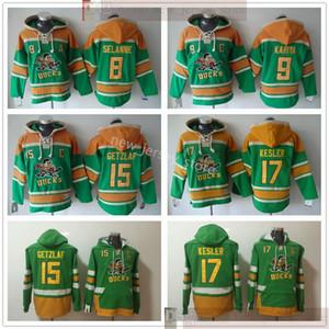 Anaheim Ducks Hockey Hockey Teemsys Teemu 8 Selanne 9 Paul Kariya 15 Ryan Getzlaf 17 Райан Кеслер Толстовки Лучшее качество Зеленый сшитый