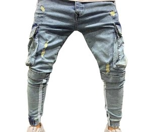 Trousers Men's Jeans Pants Casual 2020 Autumn Male Ripped Slim Sweatpants Sexy Hole Outwears55