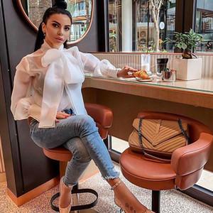 Estate Bowknot Bowkkin Tie organza Bianco Sheer Blusa Donne Lantern Sleeve Camicia Top Ufficio Lady Sexy Ballouss elegante Tops femininos