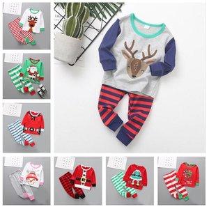 27Styles Christmas Bambini Pigiama Set TRACKSUIT DUE PEZZI ATTICHI ABITI DI SANTA CLAUS ELK Striped Xmas Pigiama Abiti Set Set Baby Home Abbigliamento E92705
