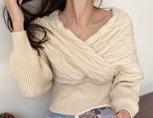 Hemp pattern loose all-match lantern sleeve sweater women