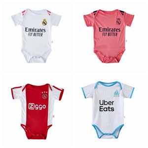 Novo Real Madrid Ajax Marselha Milão Paris Messi Verão Macacão Macacão Newborn Bebé Menino Romper Jumpsuit Roupas Bebê Roupas 0-18m