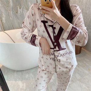 Smmoloa Couple Comfortable Silk Pajams Set Girl Men Print Pyjama Set Long Sleeve Flower Printed Sleepwear Suit#70221