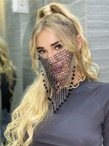 Designer Diamond Mask Vintage Shiny Mesh Face Masks Charming Rhinestone Tassel Mask Fashion Masquerade Party Veil Jewelry