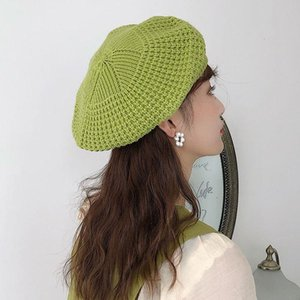 여성 단색 소녀 모자 jllRqF의 light2010와 Jiangxihuitian 간단한 여성 더블 레이어 모자 겨울 캐주얼 니트 털 모자