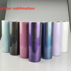 Sublimation Glitter Skinny Tumbler 20z Glänzende dünne Tumbler Edelstahl Vakuum Taper Tune DIY Tasse Becher