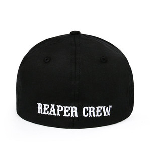 1PCS SOA Sons of Anarchy Fitted Baseball Cap Hat Embroidered Hat Black Color Unisex Caps Drop Shipping Support 201019