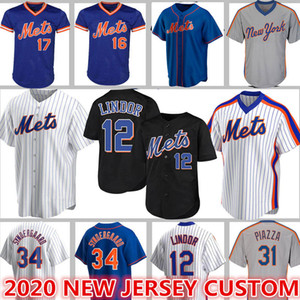 Custom 12 Francisco Lindor Mets Majersy 48 Jacob Degrom Baseball 20 Pete Alonso Darryl Strawberry New Mike Piazza Hernandez Rosario Stroman