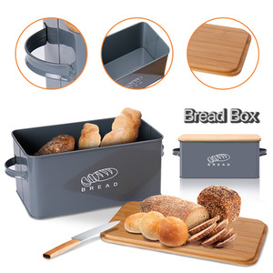 Storage Boxes Bread Bins With Bamboo Cutting Board Lid Metal Galvanized Snack Box Handles Design Kitchen Containers Home Decor 201029