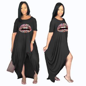 Women Lip Irregular Split Dress Short Sleeve Crew Neck Summer Dresses Ladies Loose Plus Size Fashion Dress