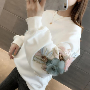 Autumn Women Thicked Flower Embroidery Hoodies O-Neck Long Sleeve Ins Warm Sweatshirt Spring 2021 New Solid Ladies Loose Tops