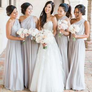 2021 Silver Grey Bridesmaid Dresses Chiffon One Shoulder Floor Length Ruched Pleats Custom Made Plus Size Maid of Honor Gown Beach Wedding