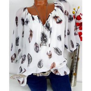 Blusas de las mujeres camisas 2021 mujeres verano otoño casual cuello en V gasa blusa tops y media manga negro blanco camisa de las señoras