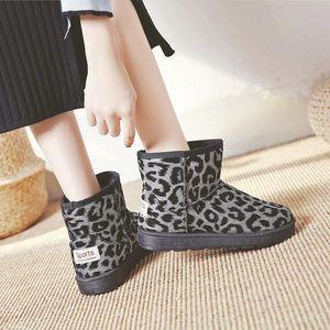 Leopard Print Winter Warm Snow Boots For Women Designer Gothic Platform Non-slip Shoes Casual Comfort Flat Demonia Ankle Boots