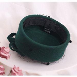2019 Adjustable Fascinating Fedoras Elegant Female Wool Felt Mesh Bow Floral Formal Berets Fedora Hats For Women Berets Lm008 H bbymgl