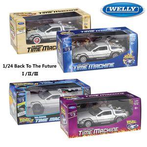 Modell 1:24 Waage WELLY Deloraner Film zurück Diecast zum Zukunft Teil 1/2/3 DMC-12 Metalllegierung Spielzeugauto für Kinder Geschenk