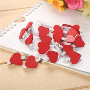 Mini Red Heart Love vêtements en bois Papier Photo Peg pin Clothespin Carte postale Clips Accueil Artisanat Papeterie Papelaria
