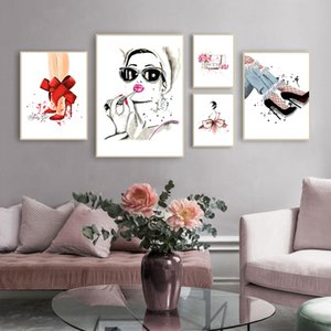 Women High Heels Handbags Fashion Poster Canvas Art Print Modern Wall Art Pictures Canvas Painting For Living Room Decor