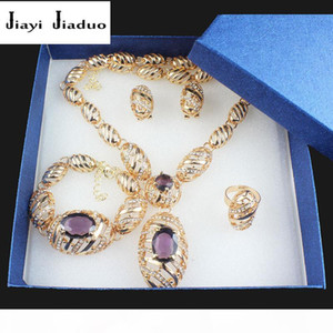 jiayijiaduo Fashion African Bride wedding gold-color Jewelry Set for women Necklace Earrings Bracelet Ring Gift Purple Crystal