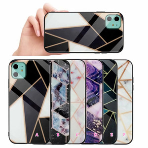 Geometric Marble Case For Samsung S20 Plus S20 A51 A71 Note 20 Ultra Real Tempered Glass Hard TPU Granite Shockproof Hybrid Fashion Cover