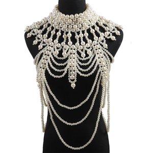 Retrò Advanced Pearls Crystal Body Body Body Catena di gioielli SexyHandmade Beaded Donne Bridal Wedding Abito da sposa Grande collana Accessori gioielli