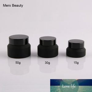 wholesales 6PCS 15g 30g 50g matte frosted black Upscrew Cap lid cover Glass Jar cosmetic container cream Bottle makeup container
