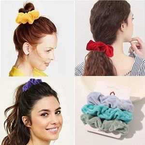 3pcs set Fashion Scrunchies Solid Color Velvet Elastic Hair Bands For Women Winter New Ponytail Ties Rope Hair Accessories Girls