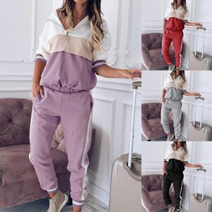 Tracksuit per le donne Donne Due pezzi Set Outfits Felpa con cappuccio Felpa Felpa Guarda le tute Sweatsuits Quadri Tute da jogging Suit Tuta femminile