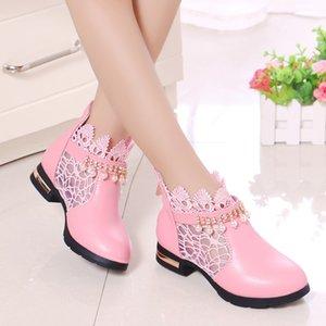Crianças Crianças Mumoresip doce princesa Meninas Lace respirável Tecido Ankle Shoes Outono-Inverno Botas