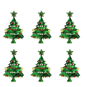 6 Pack Christmas Tree Napkin Rings, Napkin Holder for Wedding Christmas Party Dinner Table Decor Green Tree