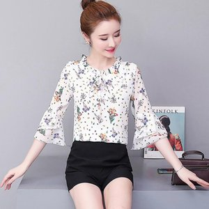 womens tops and blouses Floral chiffon blouse office shirt blusas mujer de moda 2021 long sleeve women shirts clothes