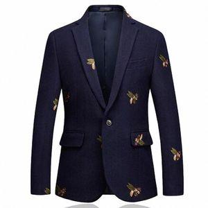 Blazer Bees Blazer Moda Boda Blazers Single Button para un elegante traje Chaqueta 6XL EM206 Y200107 E00V #