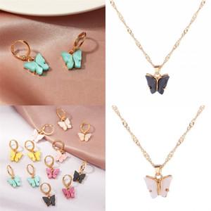 Color mariposa colgante collar para mujer acrílico chapado en oro pernos Pendientes 2020 Charms de moda Joyería Cadena Nuevos productos 0 7SF F2B