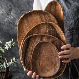 Lovesickness Wood Irregular Oval Service Plate Solid Wooden Pan Plate Fruit Dishes Saucer Tea Tray Dessert Dinner Plate Tableware DBC BH4271