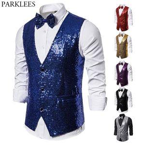 Shiny Royal Blue Sequin Dress Vests Men Slim Fit V Neck Glitter Tuxedo Waistcoat Mens Wedding Party Stage Prom Vest with Bowtie
