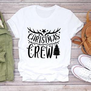 Women Christmas Light Short Sleeve Fashion 90s Tree Holiday Print Lady Tshirt Ladies Graphic T shirts Top Female Tee T Shirt
