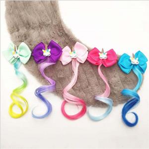 Le nuove ragazze sveglie del fumetto Unicorn Clip variopinte parrucche forcine principessa dolce fascia Barrettes Kids Fashion Accessori per capelli