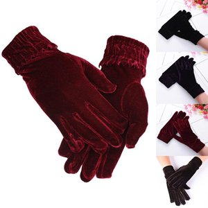New Golden Velvet Elastic Gloves Winter Warm Women Gloves Fashion Thin Short Female Elegant Banquet Party