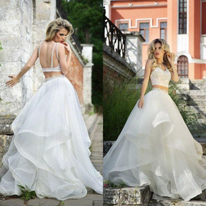 Two Piece Puffy Wedding Dresses A Line Spaghetti Straps Sexy Backless Summer Bridal Gowns Crystals Beading Top Country Beach Wedding Dress