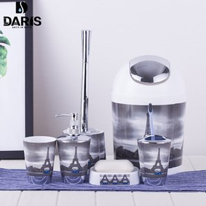 SDARISB 6PCS Eiffel Accessory Bin Soap Dish Dispenser Bottle Toothbrush Holder Home Bathroom Products Wash Bath Set T200507